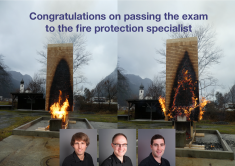 Michael Hollenstein, Fredy Birchmeier and Philipp Lutz pass the examination to become fire protection specialists VKF